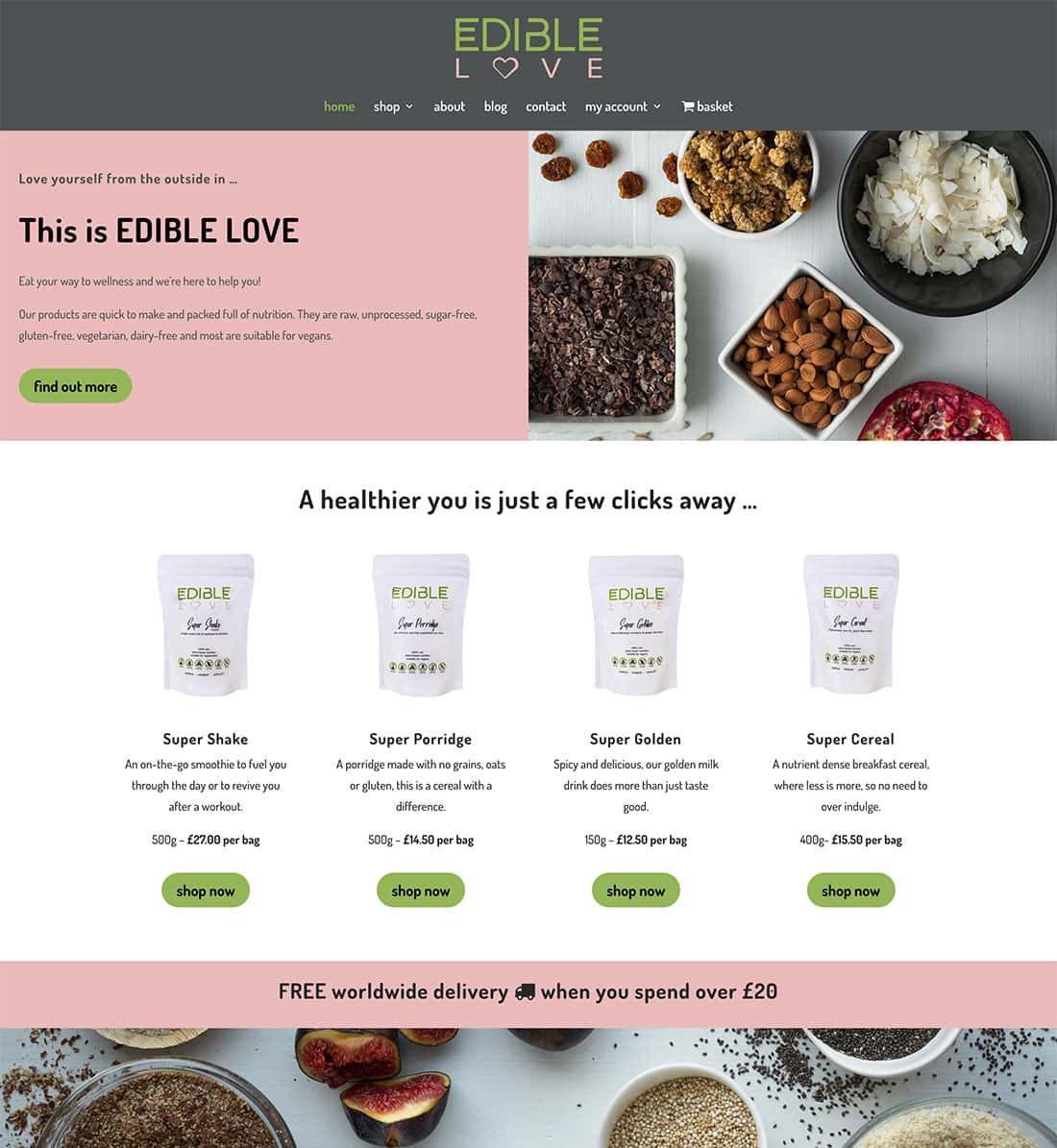 Edible Love homepage design