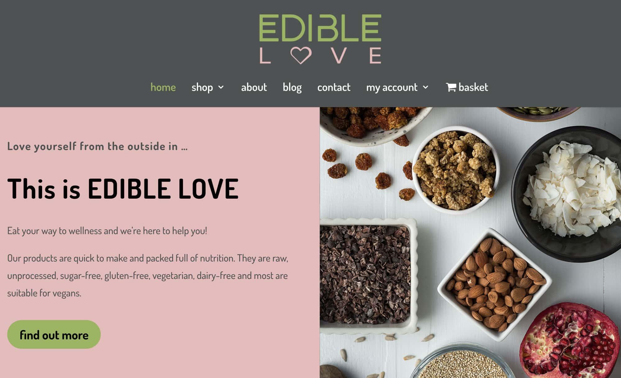 Edible Love website homepage