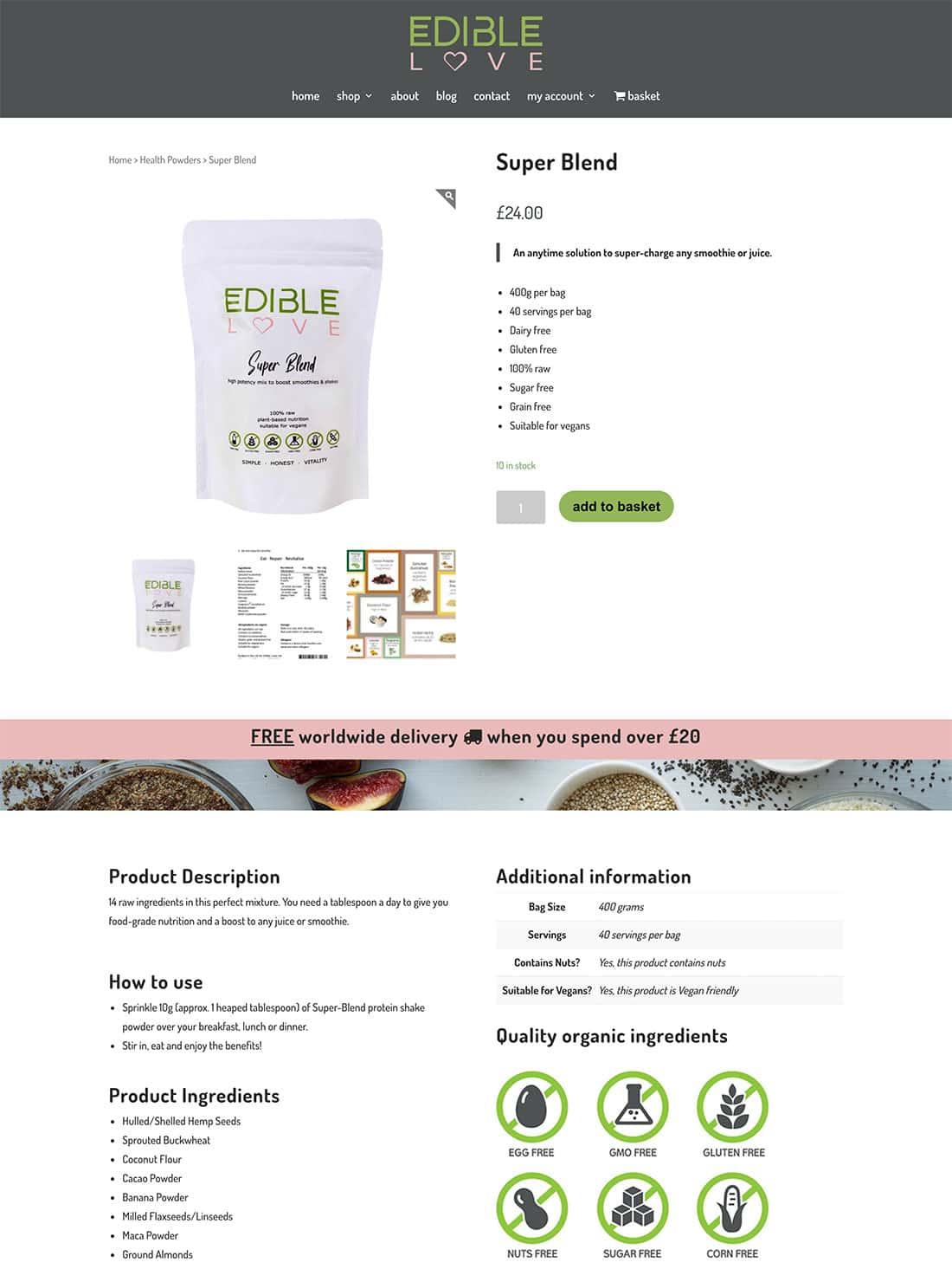 Super Blend - custom product page design