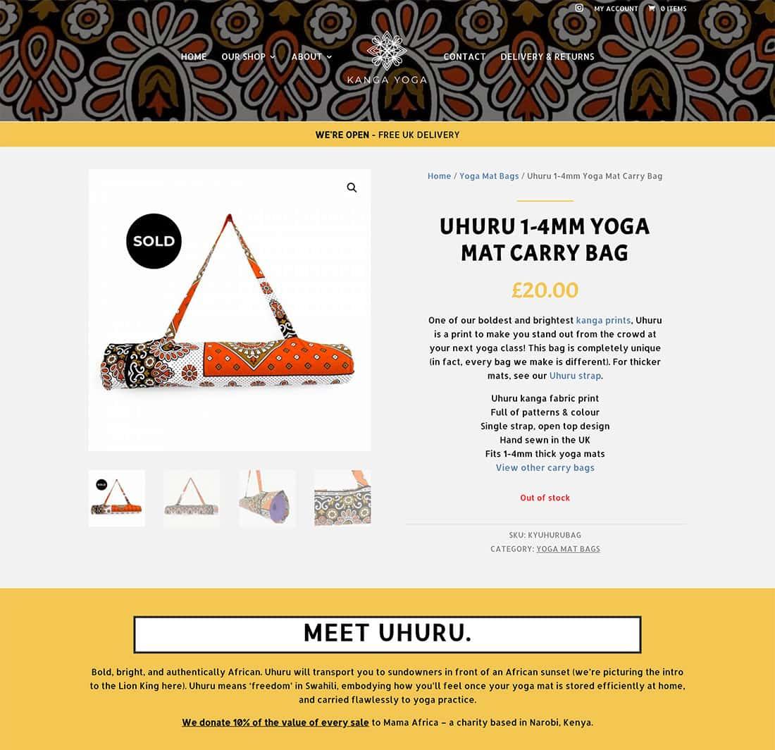 Kanga Yoga - Example Bag Product Page