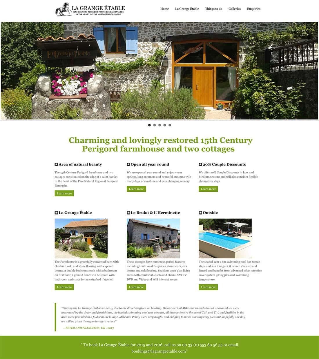 Old Homepage Design - La Grange Etable