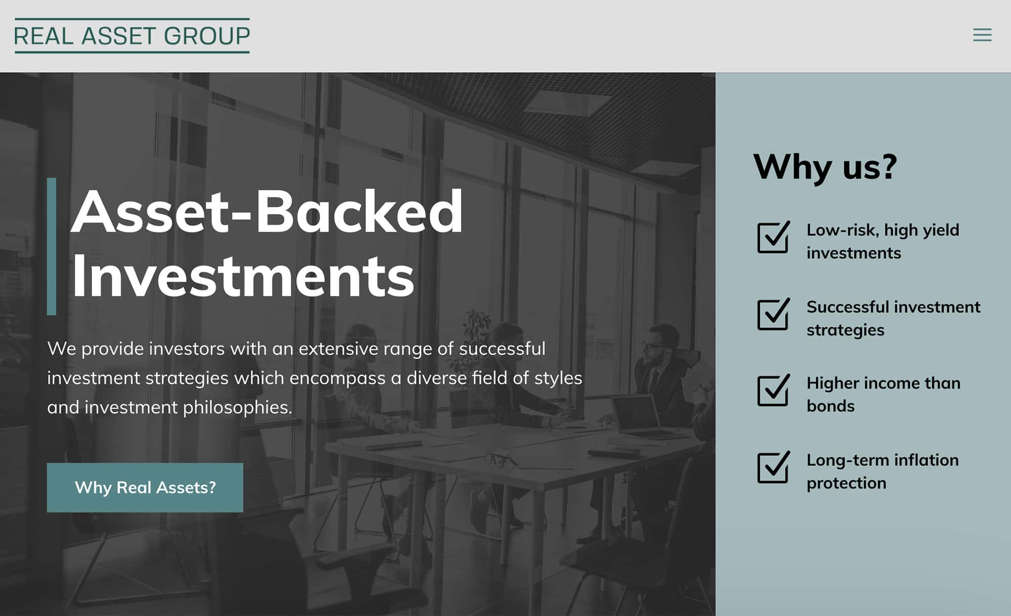 Real Asset Group homepage