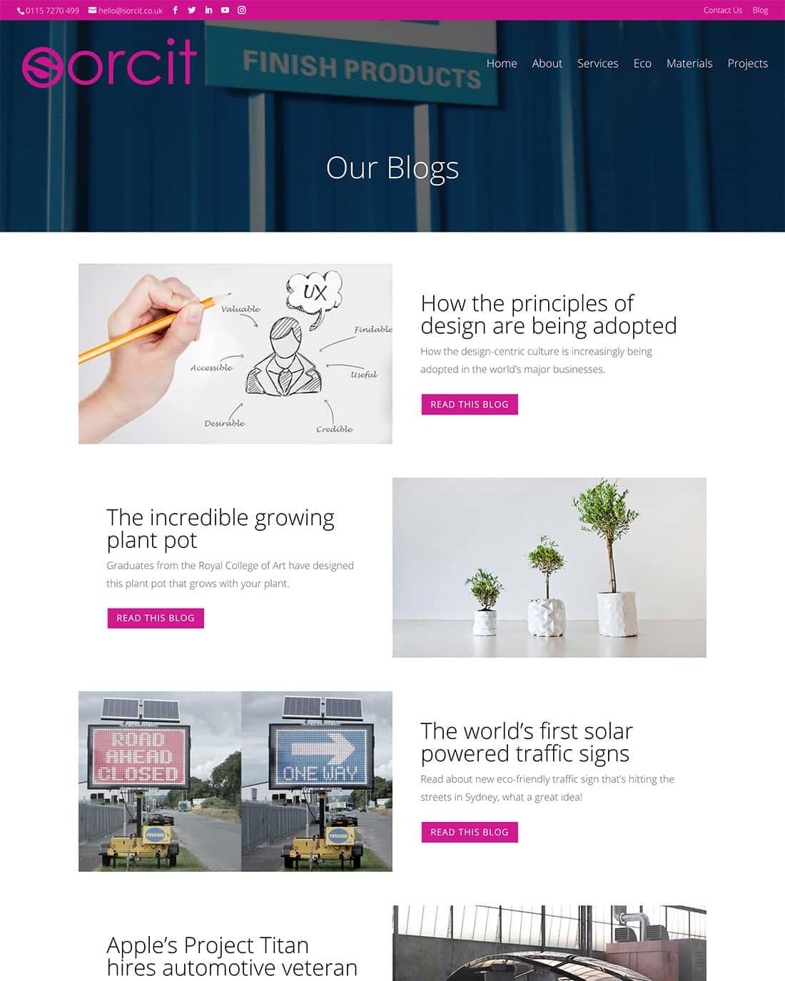 Sorcit blog page design