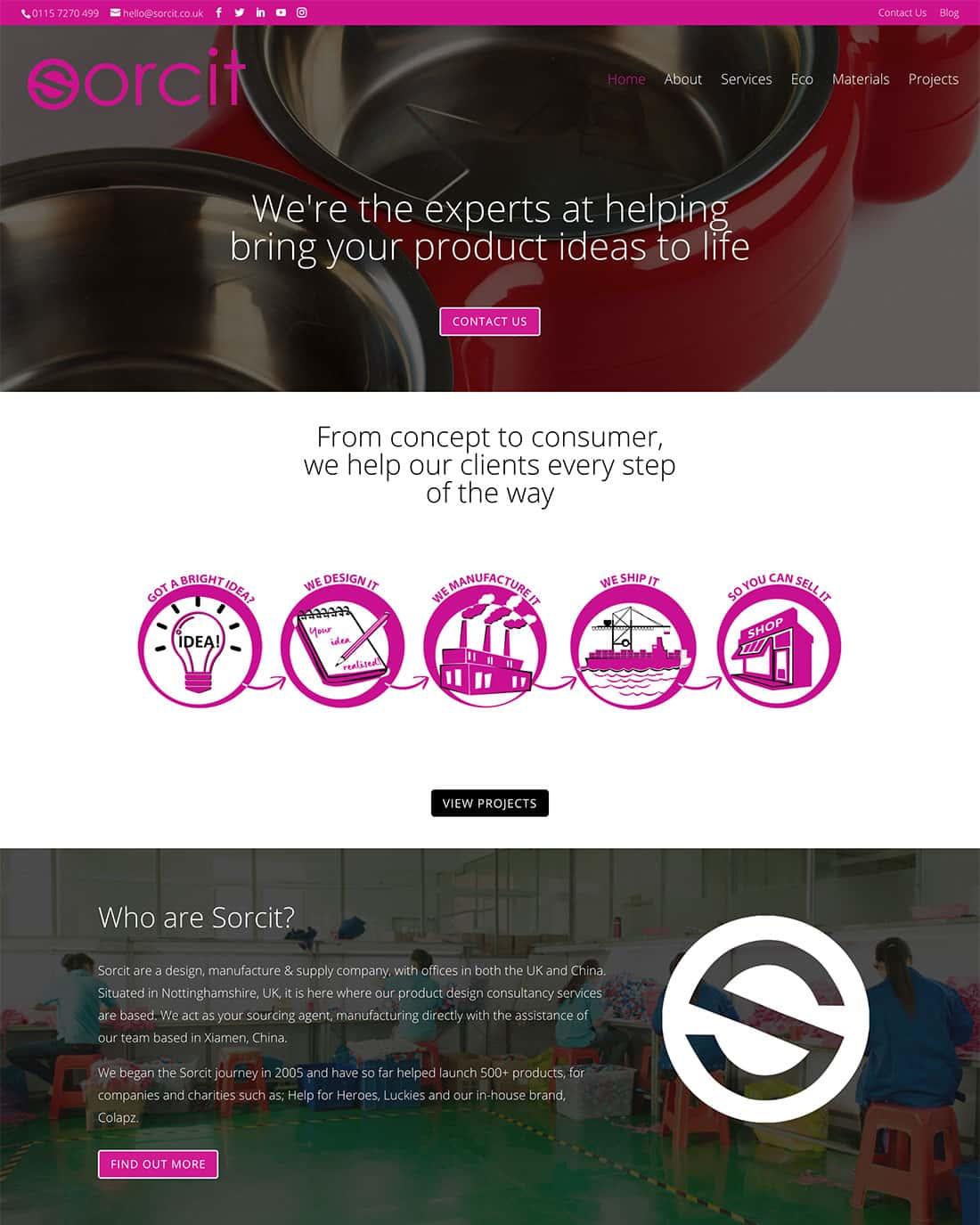 Sorcit website homepage design