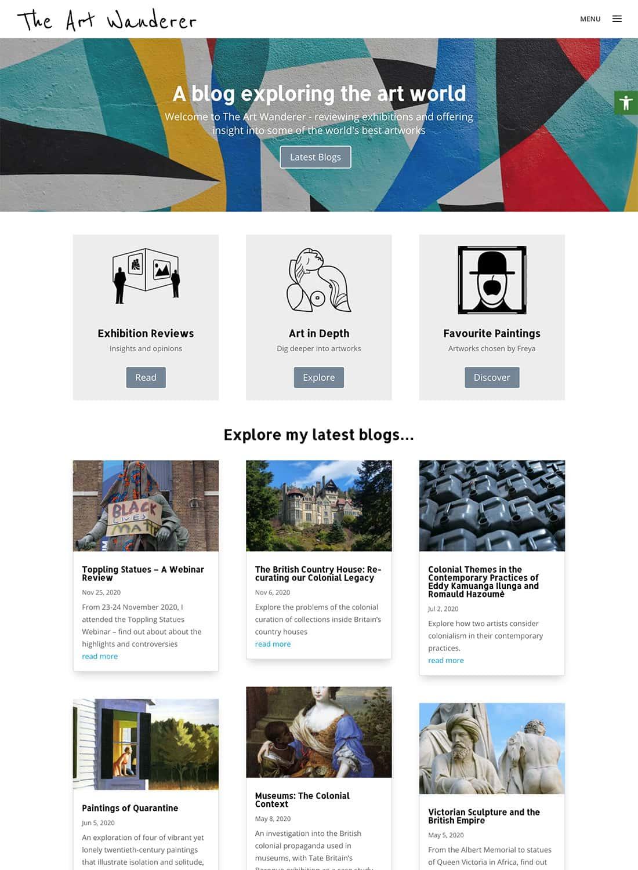 The Art Wanderer homepage design