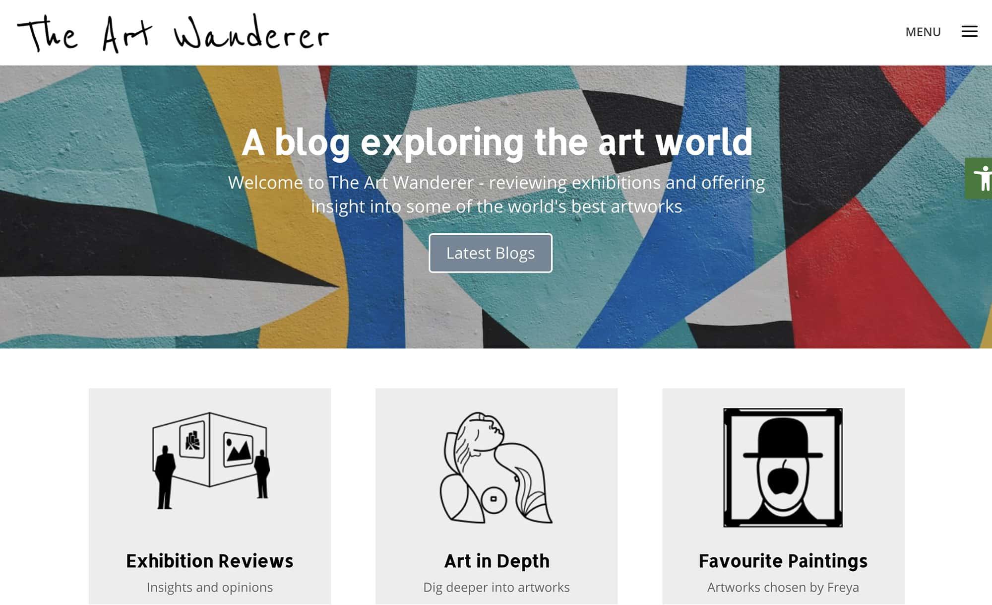 The Art Wanderer website homepage