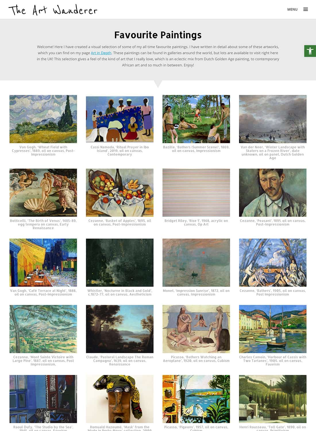 Favourite Paintings gallery page layout