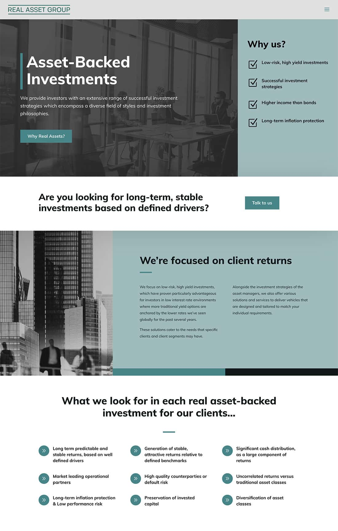 Real Asset Group homepage design