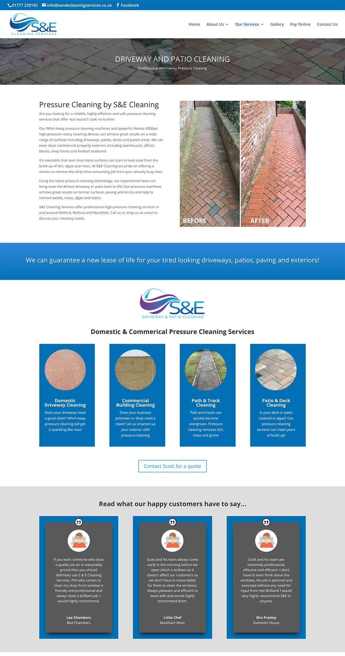 S & E Cleaning driveway & patio service page design