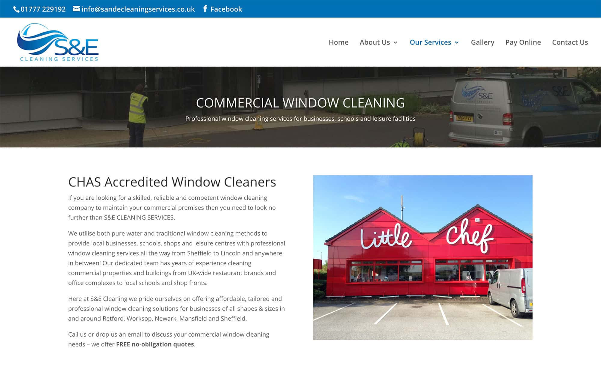 S & E Cleaning website service pages