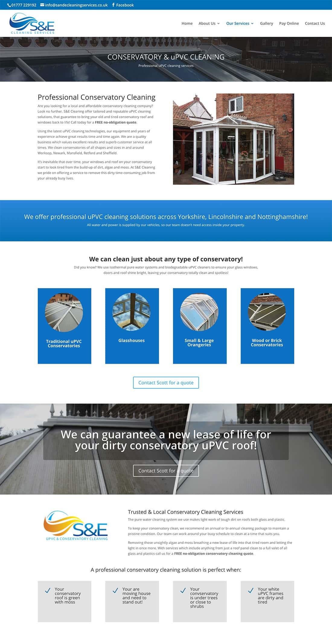 S & E Cleaning uPVC service page design