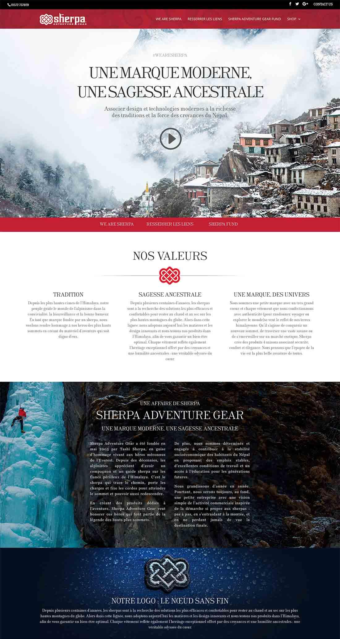 sherpaadventuregear.fr homepage design