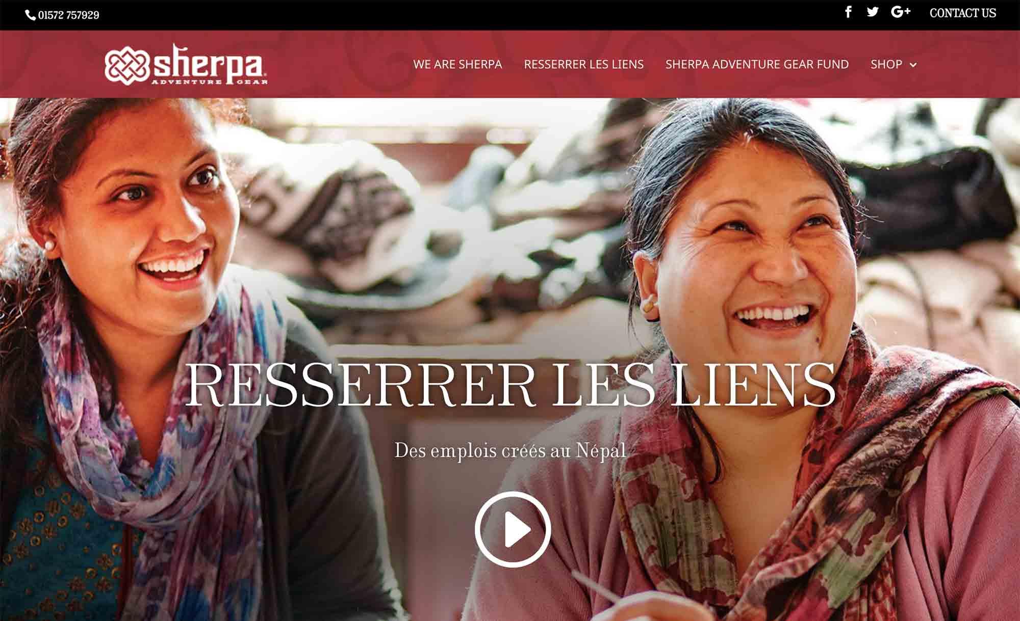 sherpaadventuregear.fr website design