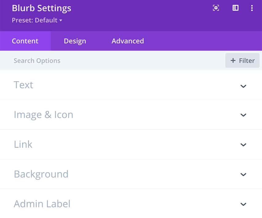 Divi theme settings box