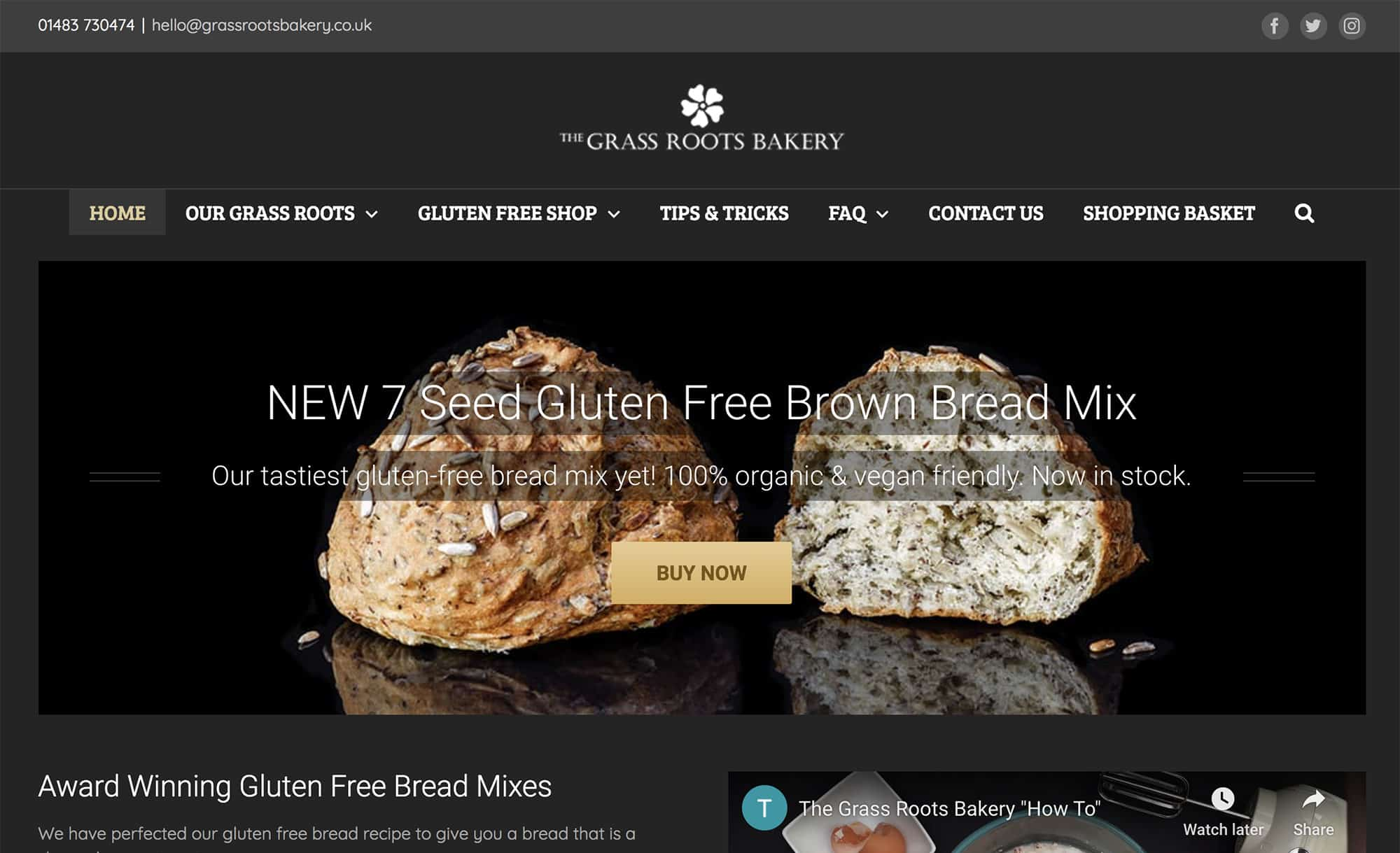 Grass Roots Bakery website homepage