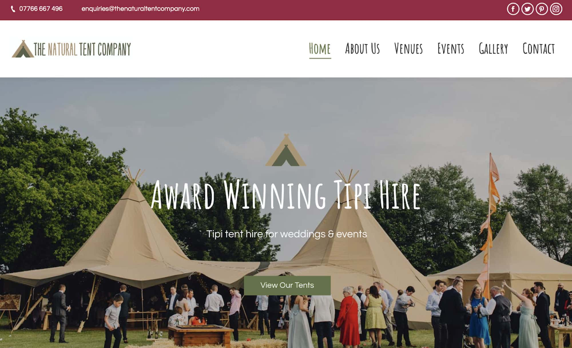 The Natural Tent Company website homepage