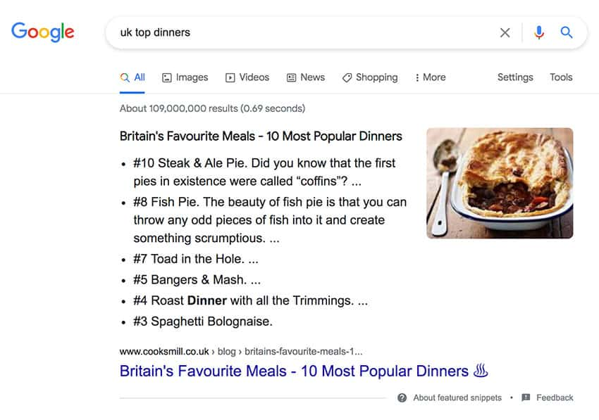 Featured snippet SEO example