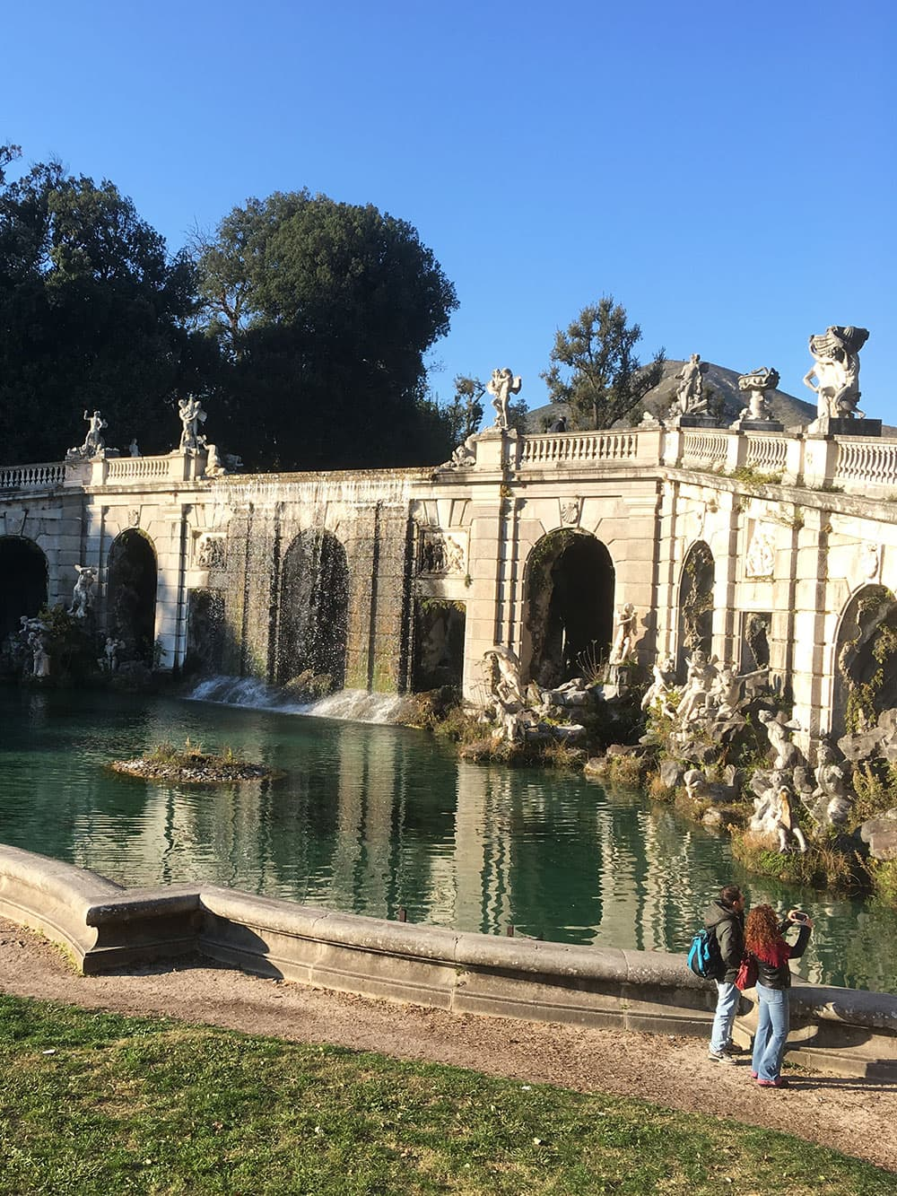 One of the many fountains in the garden at the Royal Palace of Caserta