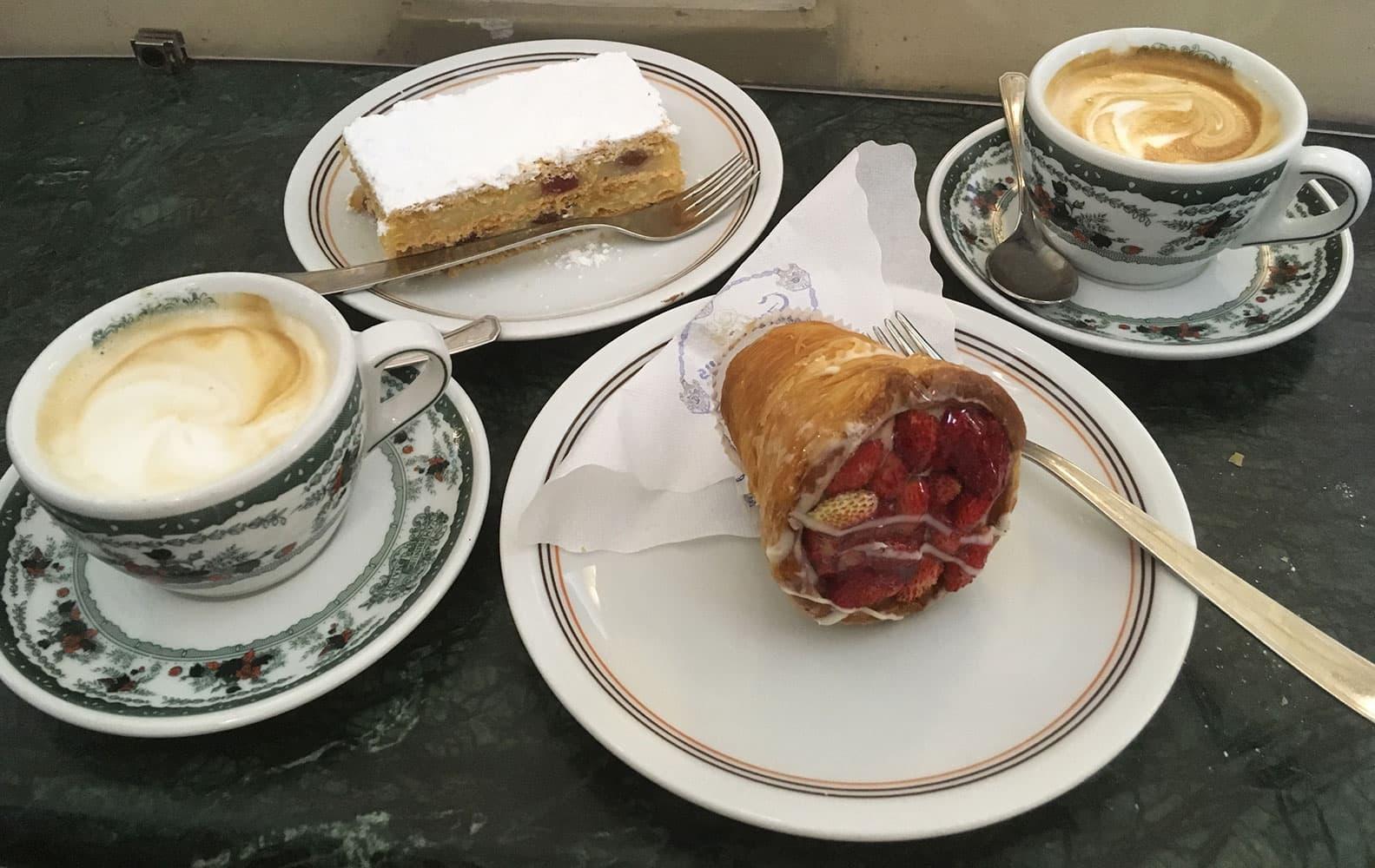 Cappuccini and pastries at Gran Caffé Gambrinus