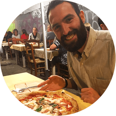 Mike eating a Neapolitan pizza!