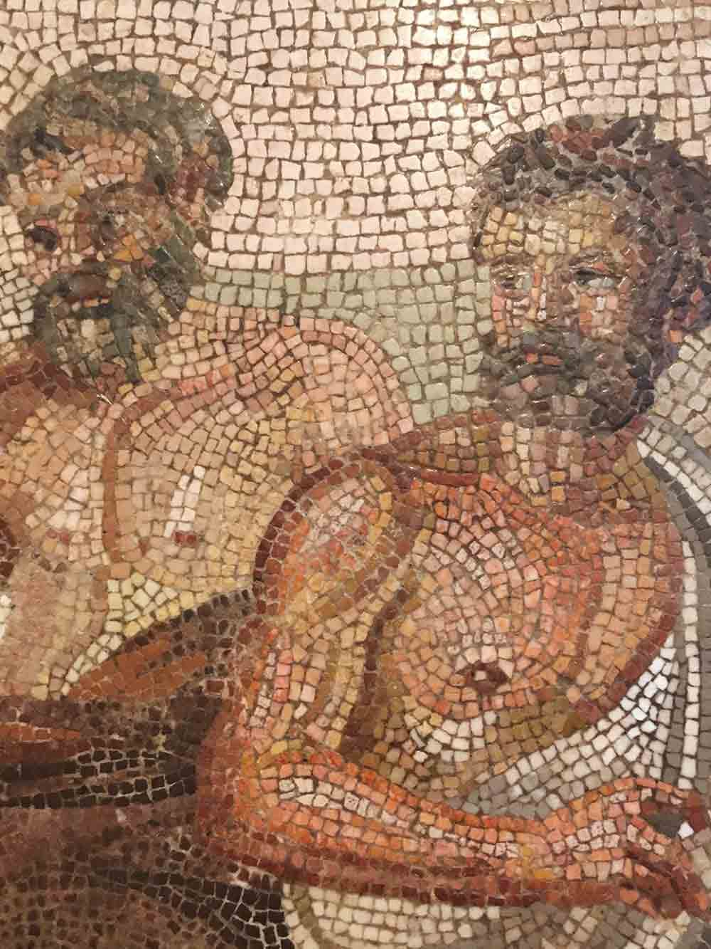 Close up of a recovered ancient mosaic inside the Archaeological Museum