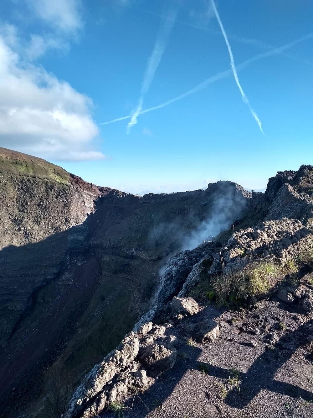 Mount Vesuvius's crater spewing sulphur gases