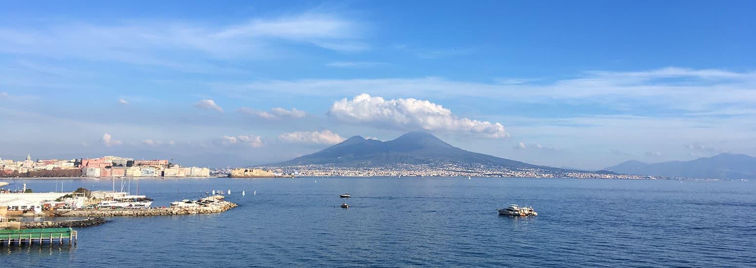 View of Mount Vesuvius across the Bay of Naples