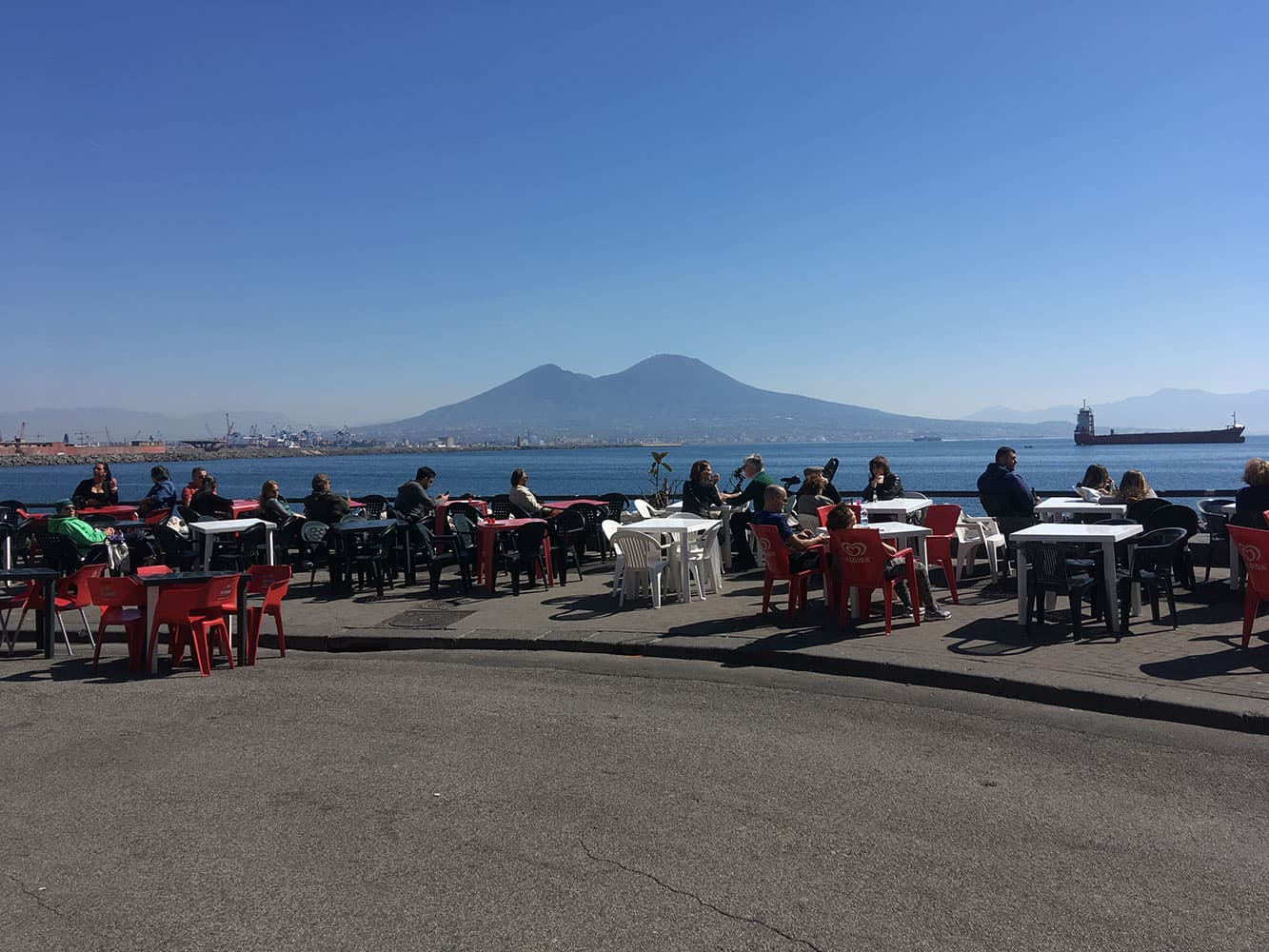 Tables & chairs down on Santa Lucia seafront