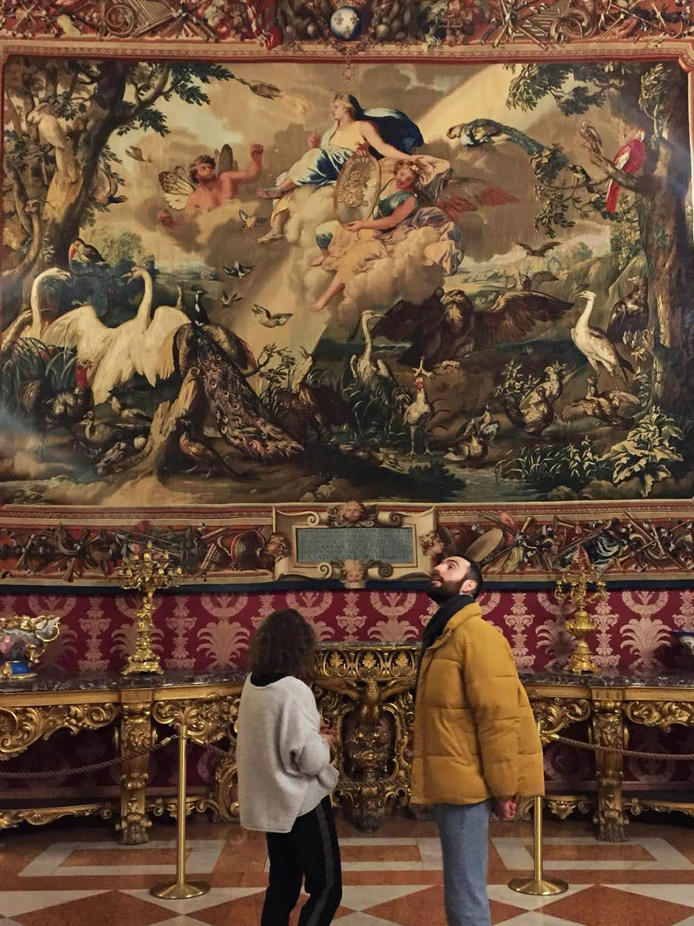 Huge tapestries inside the Royal Palace