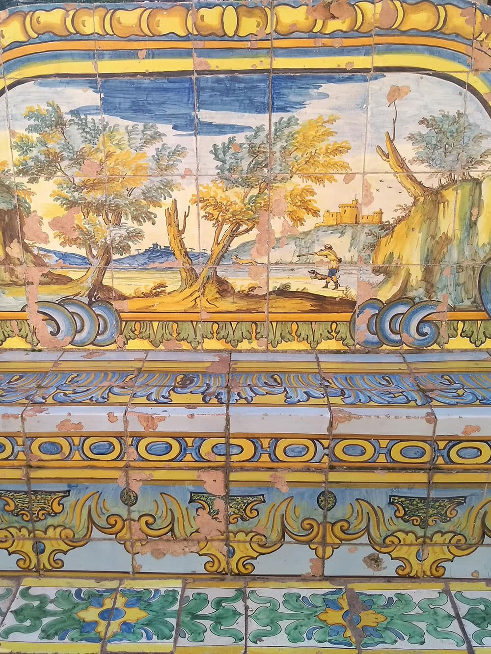 Beautiful tiled bench at Santa Chiara