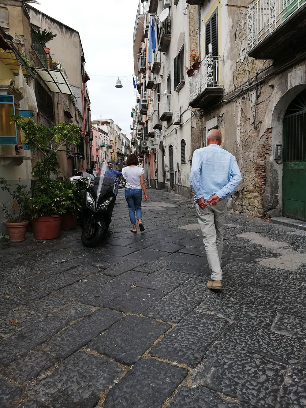 Walking down an authentic street in Naples