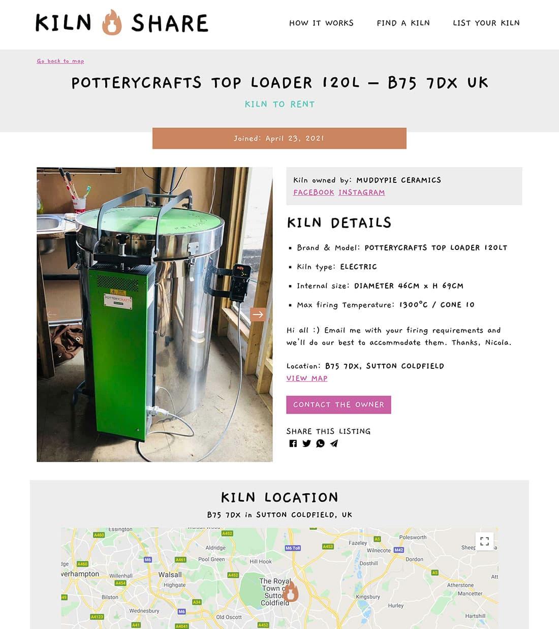 Kiln Share UK listing page